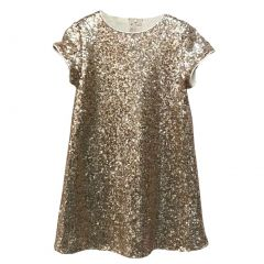 Big Girls Blush Pink Sparkle Sequin Katy Short Sleeve Shift Party Dress 8-12