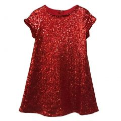 Big Girls Red Sparkle Sequin Katy Short Sleeve Shift Party Dress 8-12