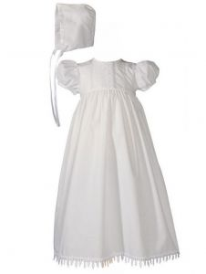 Baby Girls White Poly Cotton Teardrop Lace Bonnet Christening Gown 0-12M