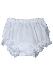 Baby Girls White Embroidered Eyelet Edging Elastic Diaper Cover Bloomer 3-24M