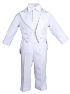 Baby Boys White 5 Pcs Shirt Jacket Pants Bow Tie Cummerbund Tuxedo Set 12-18M