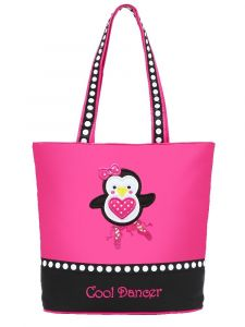 Sassi Designs Hot Pink Black Penguin Ballerina Tote Bag