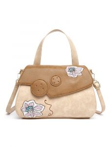 Hearty Trendy Multi Color Embroidered Lily Vintage Satchel Bag
