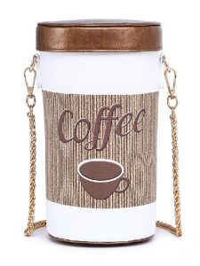 Hearty Trendy Womens Brown Chain Takeaway Coffee Cup Clutch Purse