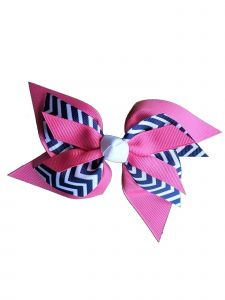 Promarx Girls Pink Contrast Chevron Stripe Pattern Layered Bow Ponytail Holder