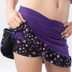 Pizzazz Girls Purple Superstar Ruffle Skirt Shorts Dance Cheer 14-16