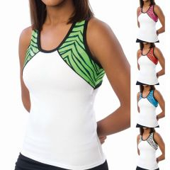 Pizzazz White Tri Color Zebra Glitter Cheer Dance Top Adult S-2XL