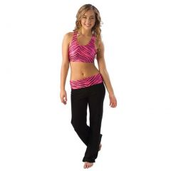 Pizzazz Girls Hot Pink Zebra Roll Down Waist Pants Dance Cheer 2T-16