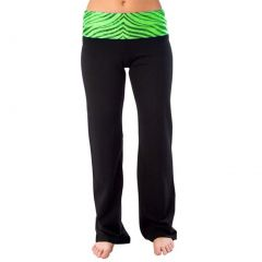 Pizzazz Girls Lime Zebra Roll Down Waist Pants Dance Cheer 2T-16