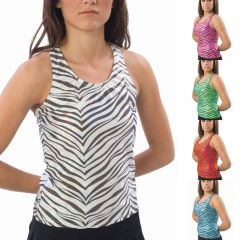Pizzazz Black Turquoise Zebra Racer Back Top Girl 6-8