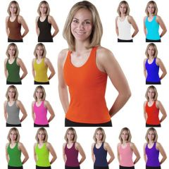 Pizzazz Girls Orange Racerback Dance Cheer Tank Top Shirt 10-12