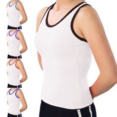 Pizzazz womens White Color Trim Racerback Dance Cheer Tank Top 2T-16