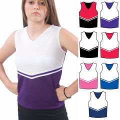 Pizzazz Purple White Cheer Uniform Top Girls 14-16