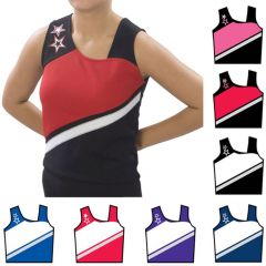 Pizzazz Black Red Cheer Star Uniform Top Adult L