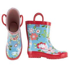 Pluie Pluie Toddler Little Girls Blue Floral Rain Boots 5-4
