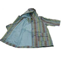 Pluie Pluie Girls Outerwear Blue Stripe Print Lined Raincoat 12M-8