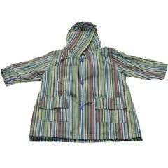 Pluie Pluie Girls Outerwear Blue Stripe Print Unlined Raincoat 12M-8