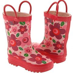 Pluie Pluie Toddler Little Girls Pink Flower Rain Boots 5-2