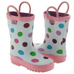 Pluie Pluie Toddler Little Girls White Polka Dot Rain Boots 5-2