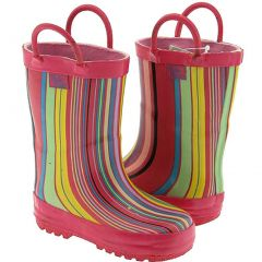 Pluie Pluie Toddler Little Girls Pink Stripe Rain Boots 5-2