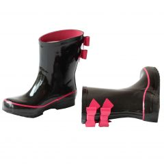 Pluie Pluie Little Big Girls Black Fuchsia Double Bow Rain Boots 11-4 Kids