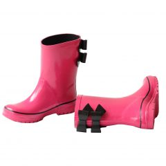 Pluie Pluie Girls Fuchsia Black Double Bow Rain Boots 5-10 Toddler