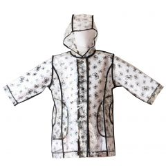 Pluie Pluie Little Girls Transparent Black Bow Unlined Rain Coat 1-6X