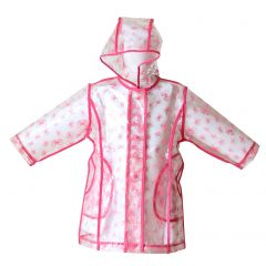 Pluie Pluie Little Girls Transparent Fuchsia Bow Unlined Rain Coat 1-6X
