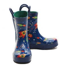 Pluie Pluie Blue Outerspace Rocket Toddler Little Boys Rain Boots 5-2