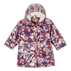 Pluie Pluie Big Girls Brown Floral Lined Rain Coat Outerwear 7-10