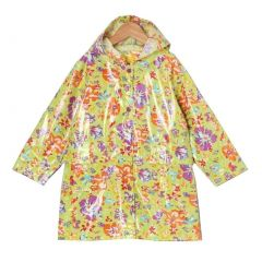 Pluie Pluie Little Girls Lime Floral Unlined Rain Coat Outerwear 1-6x