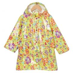 Pluie Pluie Little Girls Lime Floral Lined Rain Coat Outerwear 1-6x