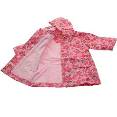 Pluie Pluie Girls Outerwear Pink Floral Print Lined Raincoat 12M-8