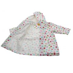 Pluie Pluie Girls Outerwear White Polka Dot Lined Raincoat 12M-8