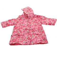 Pluie Pluie Girls Outerwear Pink Floral Print Unlined Raincoat 12M-8