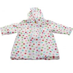 Pluie Pluie Girls Outerwear White Polka Dot Unlined Raincoat 12M/2T