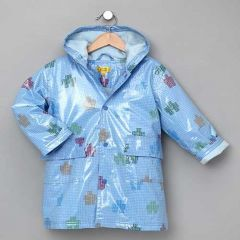 Pluie Pluie Boys Outerwear Blue Robot Print Lined Raincoat 12M-8