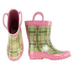 Pluie Pluie Toddler Little Girls Green/Pink Plaid Rain Boots 5-4