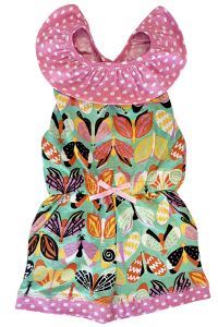 AnnLoren Big Girls Pink Green Butterfly Polka Dot Jumpsuit 7-10