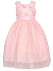 Little Girls Pink 3D Floral Lace Embroidery Tulle Flower Girl Dress 2-6