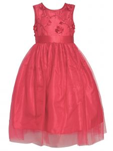 Big Girls Red 3D Floral Lace Embroidery Tulle Junior Bridesmaid Dress 8-12