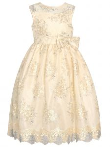 Big Girls Ivory Mesh Illusion Neckline Solid Lace Junior Bridesmaid Dress 8-12