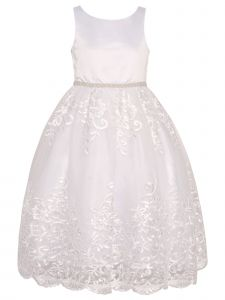 Big Girls White Satin Pearl Trim Adorned Lace Tulle Junior Bridesmaid Dress 8-12