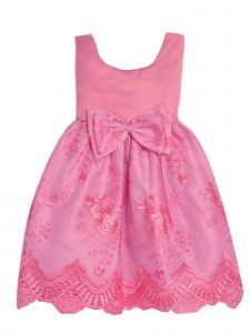 Princess Kloset Baby Girls Rose Pink Floral Lace Overlay Christmas Dress 6M-24M