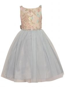 Princess Kloset Little Girls Blue Pink Floral Tulle Overlay Christmas Dress 2T-6