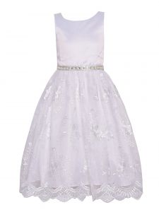 Princess Kloset Little Girls White Floral Lace Overlay Christmas Dress 2T-6