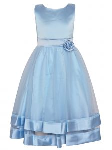 Princess Kloset Big Girls Light Blue Mesh Overlay Flower Christmas Dress 8-12