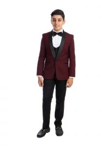 Perry Ellis Little Boys Burgundy 4 Piece Special Occasion Tuxedo 7