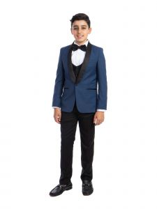 Perry Ellis Little Boys Indigo Blue 4 Piece Special Occasion Tuxedo 2-7