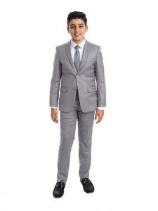 Perry Ellis Big Boys Light Grey 5 Piece Classic Formal Occasion Suit 8-20